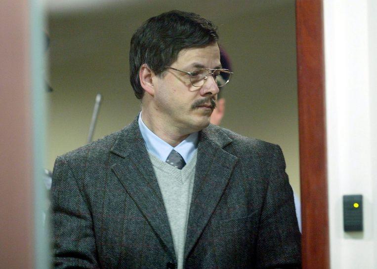 Marc Dutroux tijdens zijn proces in 2004. Beeld EPA