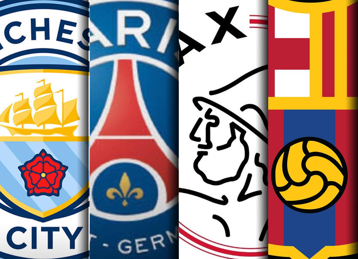 De logo's van ManCity, PSG, Ajax en Barcelona.
