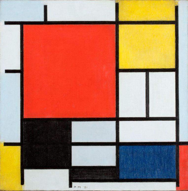 Piet Mondriaan, Compositie met groot rood vlak, geel, zwart, grijs en blauw (1921, Coll. Gemeentemuseum). Beeld Piet Mondriaan / Gemeentemuseum Den Haag
