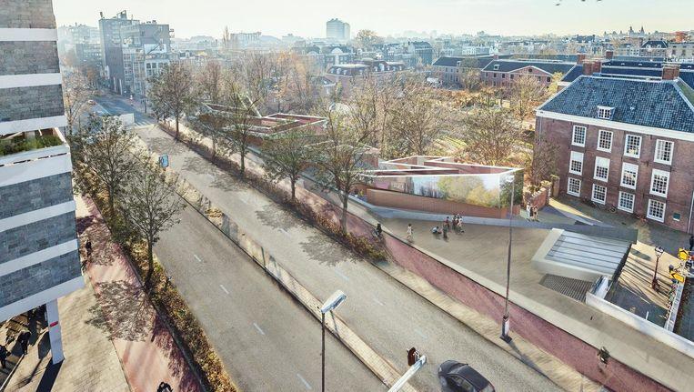 Een artist's impression van het Holocaust Namenmonument in de Weesperstraat Beeld -