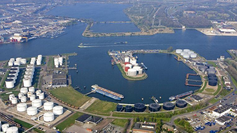 Luchtopname van het havengebied bij Amsterdam Beeld anp