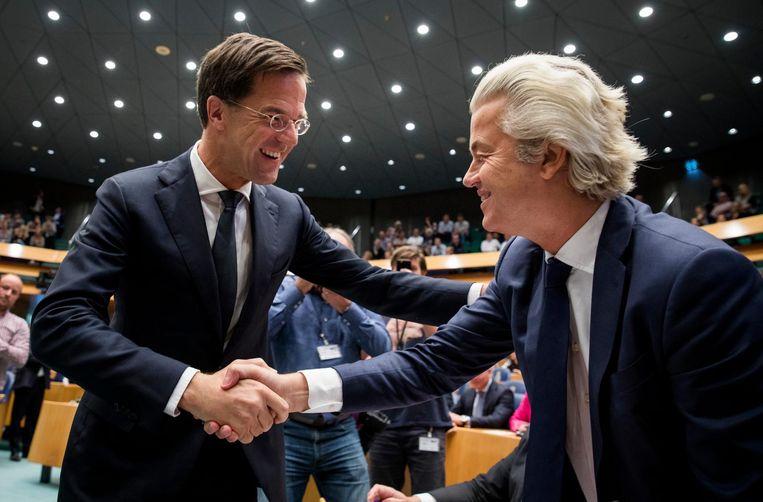 Mark Rutte en Geert Wilders tijdens de Algemene Politieke Beschouwingen. Beeld anp