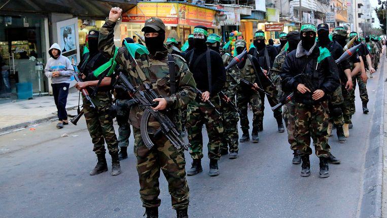 Strijders van Hamas in Gaza. Beeld AP