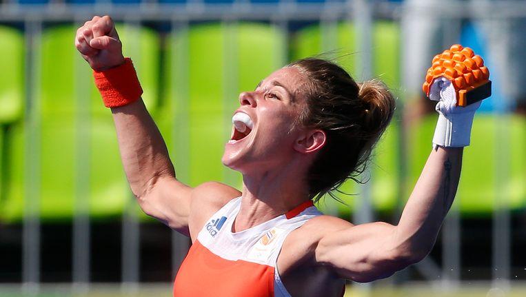 Een juichende Ellen Hoog tijdens de Spelen in Rio de Janeiro. Beeld ProShots