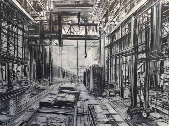 De expositie 'Tekenen als baken' met werken van Lies van Dam is tot eind november te bewonderen in de hal van het Huis voor Cultuur en Bestuur.