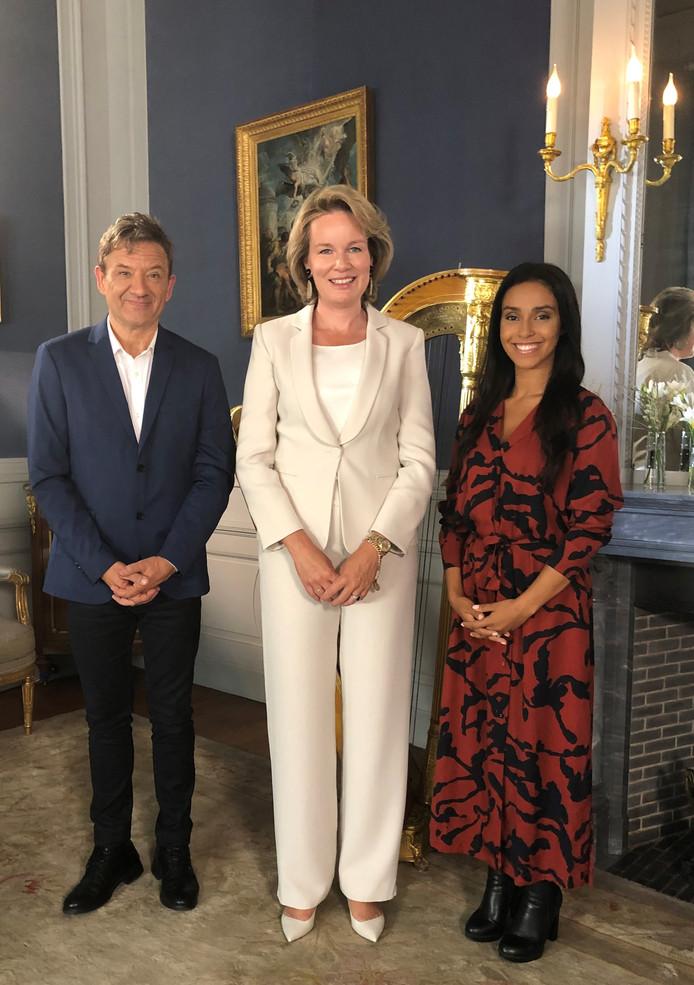 Bart Peeters, la reine Mathilde et Nora Gharib
