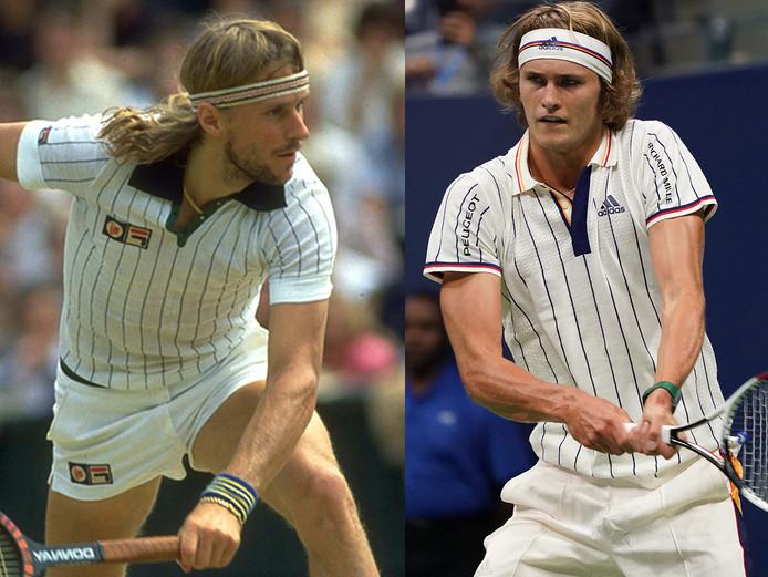Zoek de verschillen... Björn Borg (links) in 1979 in actie op Wimbledon, Alexander Zverev vannacht in actie bij de US Open.
