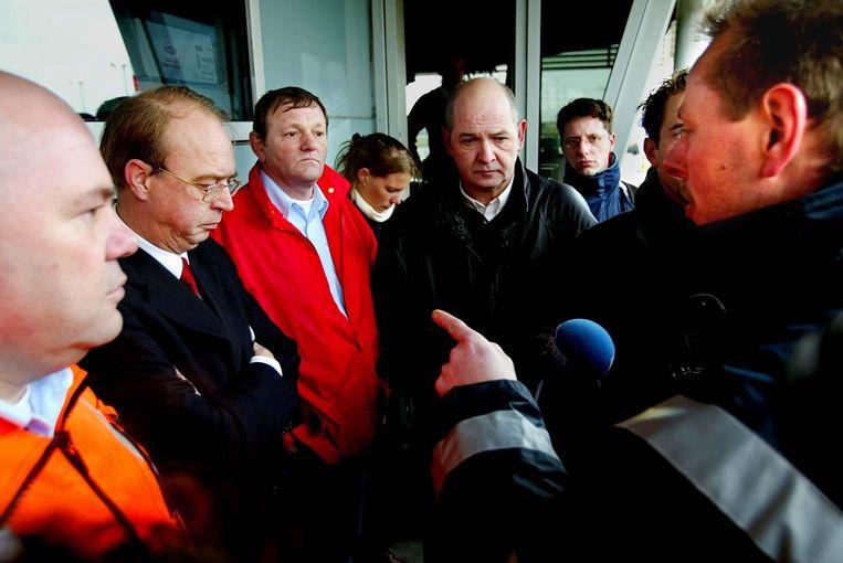 De laatste staking in de havens in Rotterdam was in 2003. Dit was een protestactie tegen de invoering van Port Package, het Europese plan om werk in de havens te liberaliseren. Beeld anp