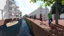 De Nieuwe Mark wordt doorgetrokken achterlangs de bebouwing van de Markendaalseweg. Rechts het Arsenaalsgebouw van de Seelig-kazerne.
