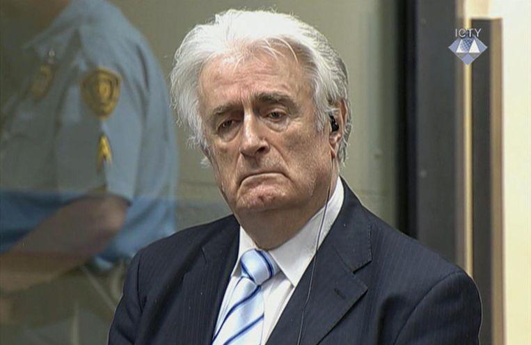 Karadzic tijdens zijn rechtszaak in Den Haag. Beeld ap