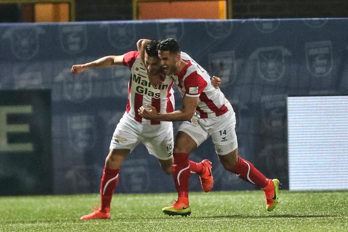 Fatih Kamaci (l) en Huseyin Dogan vieren de 0-2.