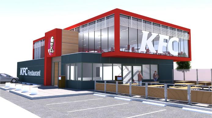 Artist Impression van de  KFC die voor het Cincinnati gebouw aan de Schiedamsedijk in Vlaardingen komt te staan.