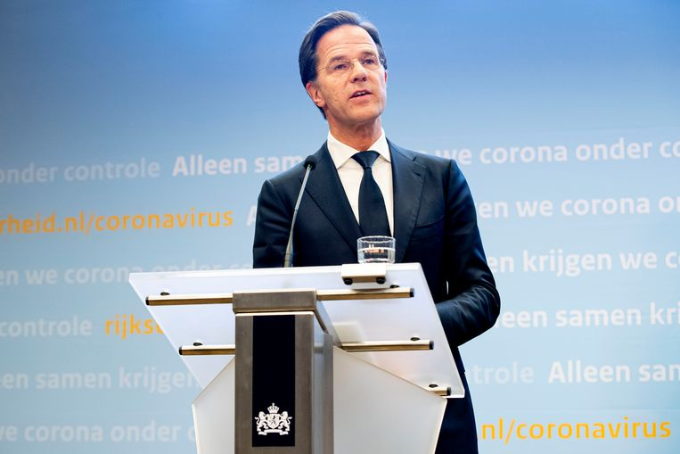 Premier Mark Rutte tijdens een persconferentie over corona. Beeld BSR Agency