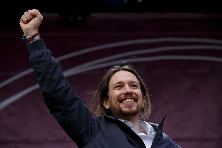 Leider van Podemos Pablo Iglesias Beeld getty