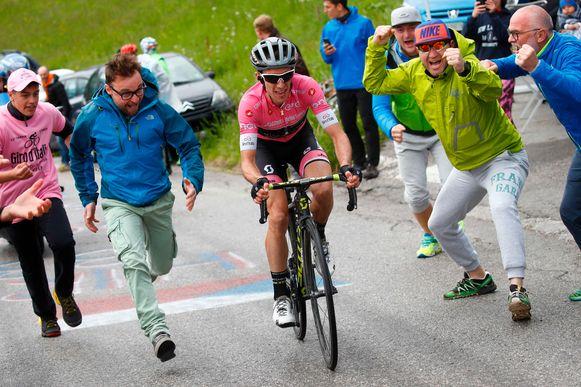 Simon Yates in de Giro van 2018.