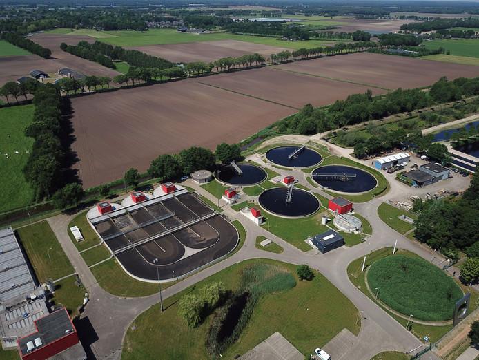 De rioolwaterzuiveringsinstallatie  van het waterschap in Hapert.