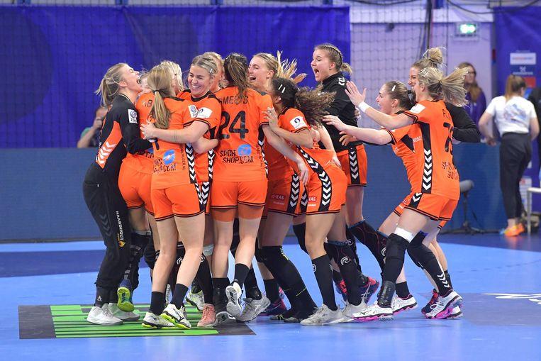 Woensdagavond vierde Nederland de overwinning op Duitsland. Beeld ANP