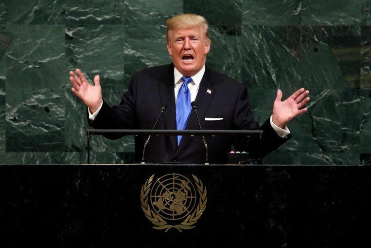 Donald Trump spreekt de Algemene Vergadering van de Verenigde Naties toe op 19 september 2017 Beeld ap