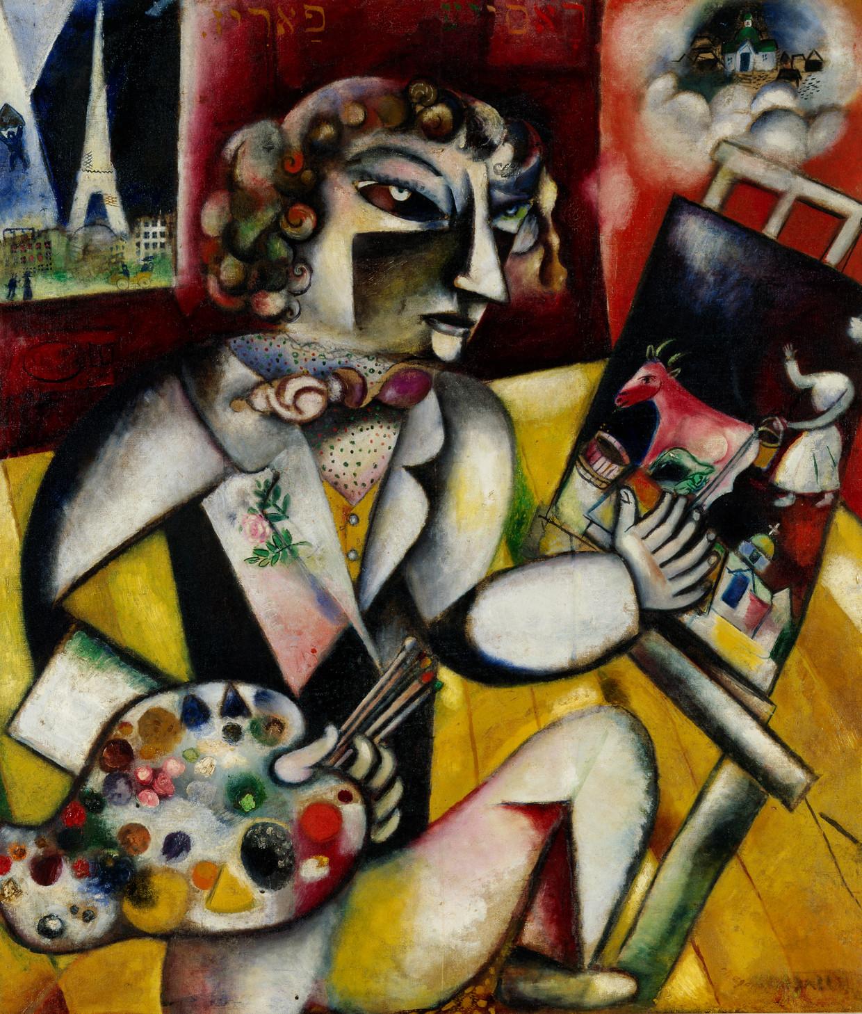 In Zelfportret met zeven vingers toont Chagall zijn Joods-Russische achtergrond.  Beeld Stedelijk Museum Amsterdam