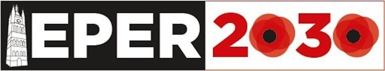 Het oorspronkelijke logo, waarin twee klaprozen verwerkt waren.