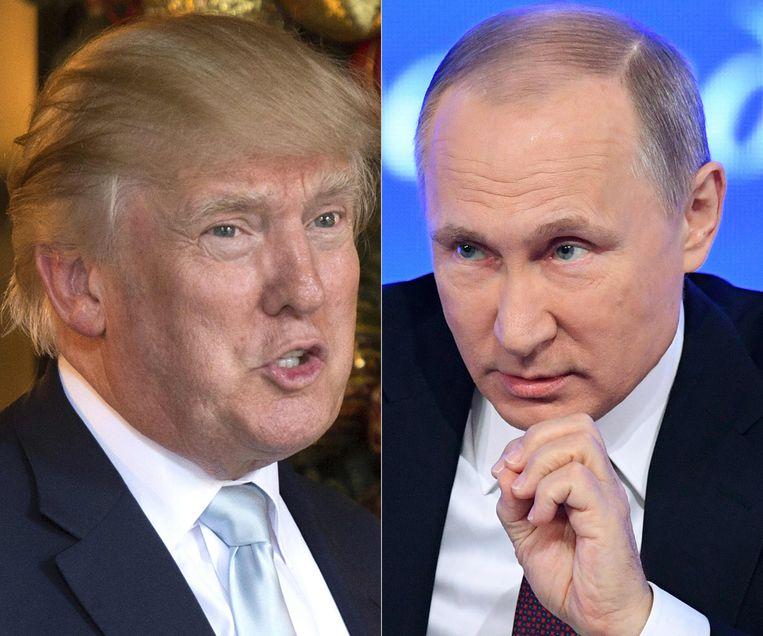 De Russische president Vladimir Poetin (r.) wil een verklaring van Trump waarom de Amerikanen zich willen terugtrekken uit het ontwapeningsverdrag.