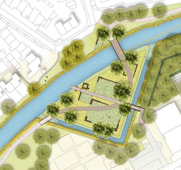De Voorste Stroom loopt langs het archeologisch monument waarop de Stichting Duurzaamheidsvallei met muurtjes Kasteel Durendael in herinnering wil roepen. Het fietspad naar de brug slingert ertussendoor. In een rechte hoek: de slotgracht.