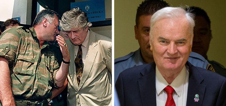 Links: Mladic in gesprek met Radovan Karadzic, die in 2016 werd veroordeeld tot 40 jaar gevangenisstraf. Rechts: Mladic in de rechtszaal vandaag. Beeld ANP