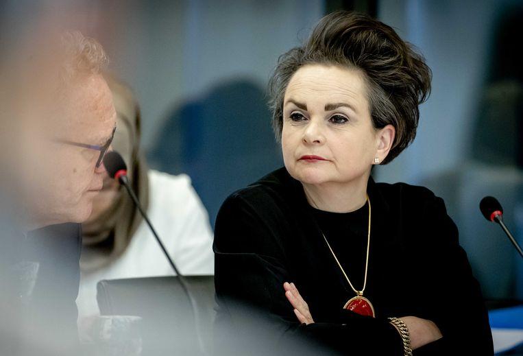 Staatssecretaris Alexandra van Huffelen tijdens een algemeen overleg in de Tweede Kamer over de Belastingdienst. Beeld ANP