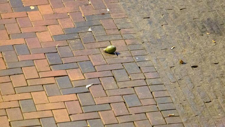 De aangetroffen handgranaat op het Bijlmerplein. Beeld anp