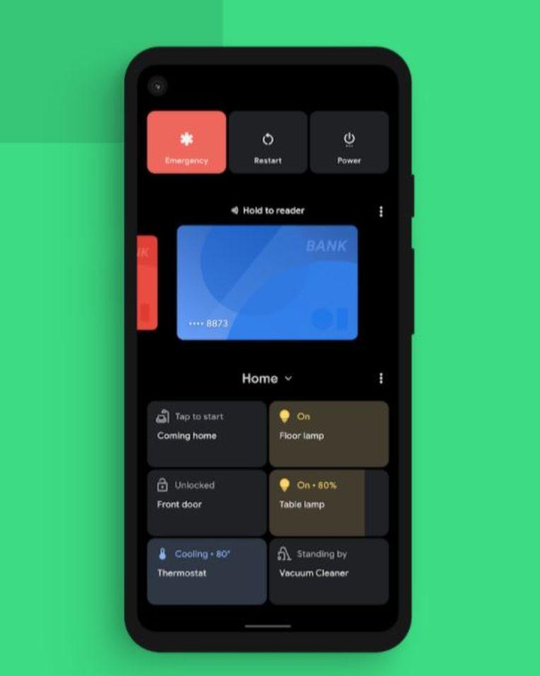 Eén van de nieuwe schermen van Android 11 Beeld Google