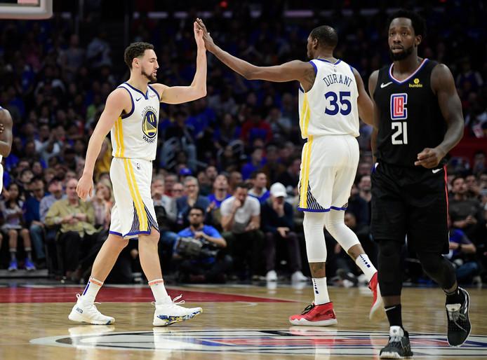 Klay Thompson en Kevin Durant blonken opnieuw uit bij Golden State Warriors.
