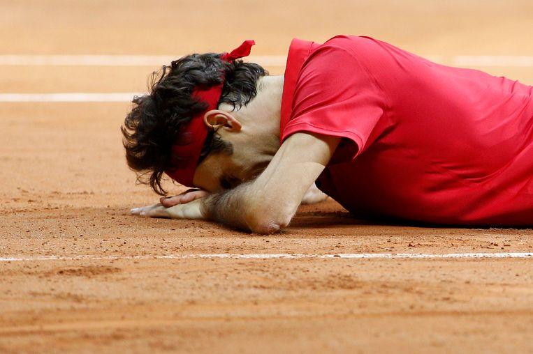Federer na het winnen van de Davis Cup. Beeld epa