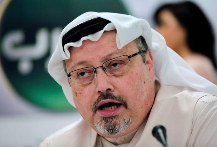 Jamal Khashoggi tijdens een persconferentie in Bahrein, in 2015.