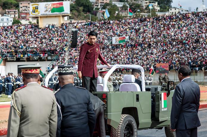 President Andry Rajoelina van Madagascar tijdens de viering van Onafhankelijkheidsdag.