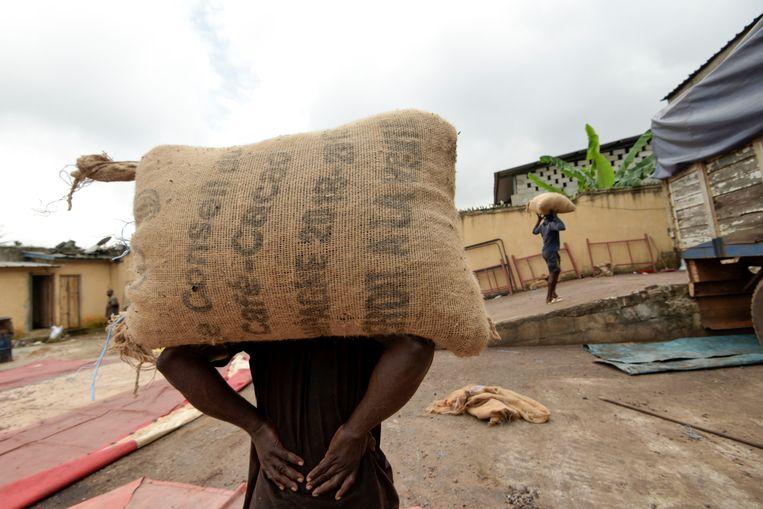 Zakken vol cacao in Abidjan, Ivoorkust. Beeld AFP