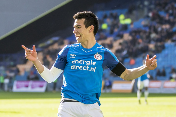 Hirving Lozano nadat hij de 1-4 heeft gescoord voor PSV.