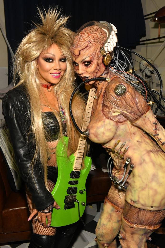 Mariah Carey en Heidi Klum op het jaarlijkse Halloweenfeest van topmodel Klum.
