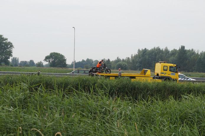 Motorrijder gewond op de oprit van de A59 bij Waalwijk.