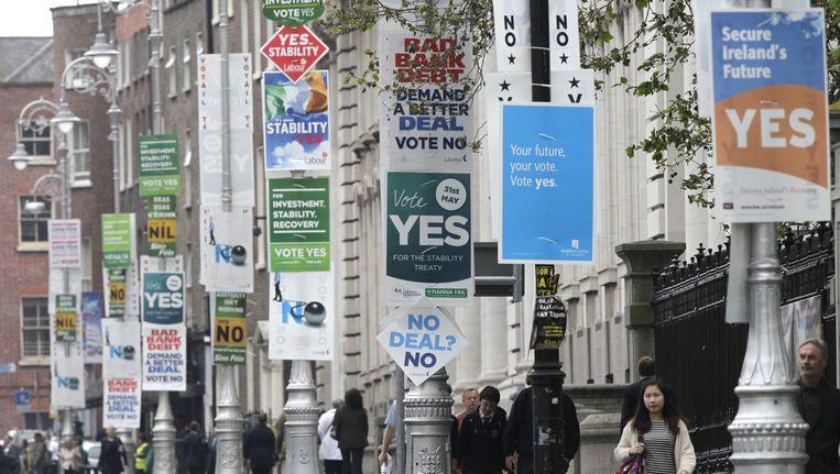 Campagneborden in Dublin. Beeld AP