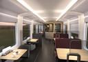 Een impressie van de bar en restaurant in de nieuwe trein