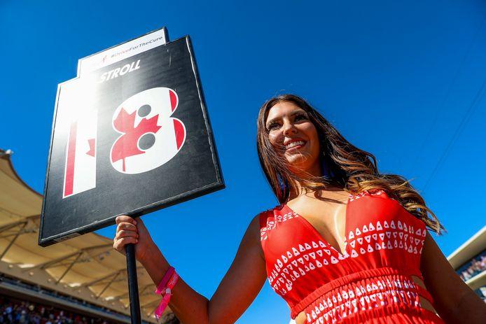 Een gridgirl voor de Grand Prix van de Verenigde Staten vorig jaar.