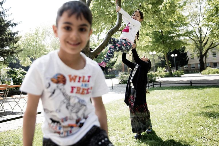 Een Roma-jongetje in een park in de wijk Nordstadt. Beeld Daniel Rosenthal / de Volkskrant