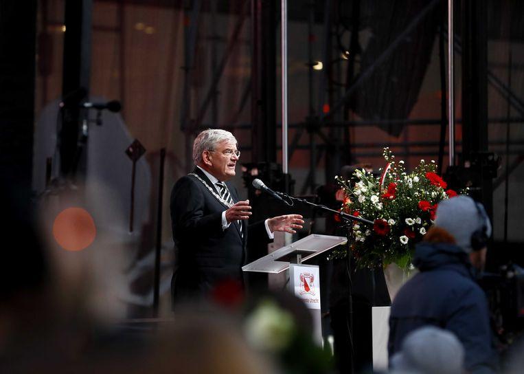 Jan van Zanen in maart 2019, voorafgaand aan de stille tocht ter herdenking van de slachtoffers van de tramaanslag.  Beeld ANP