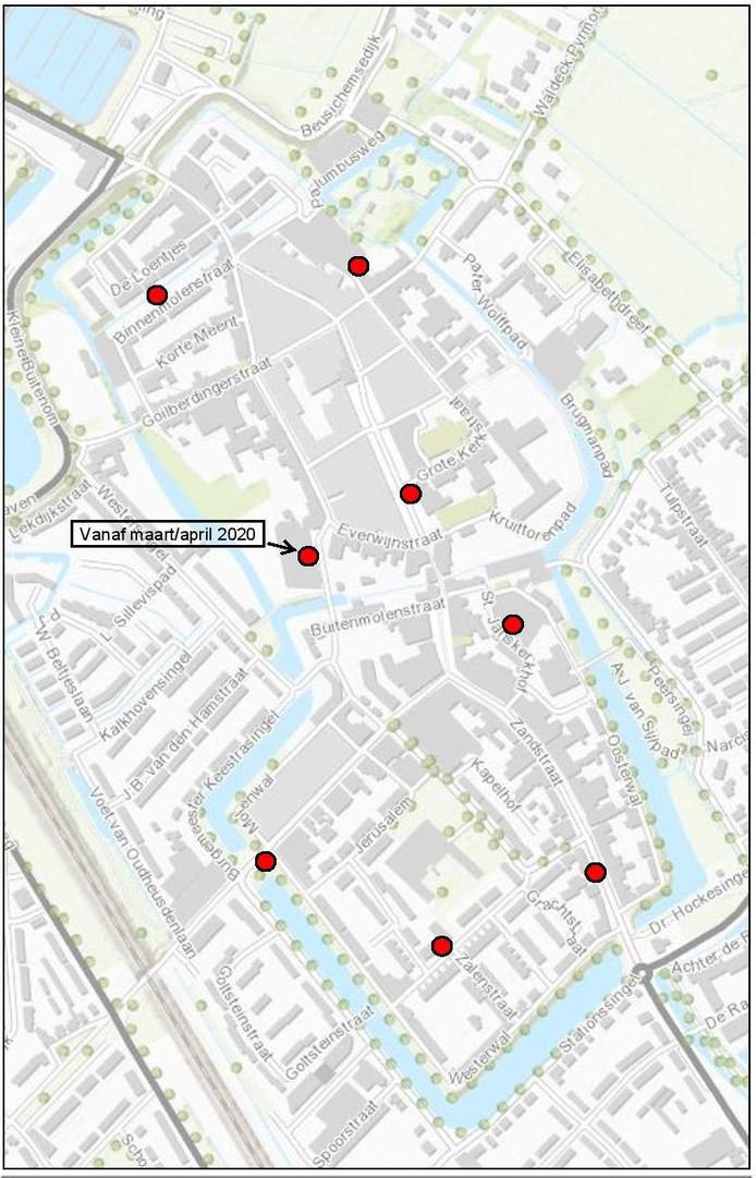 De locatie van de ondergrondse containers in Culemborg.
