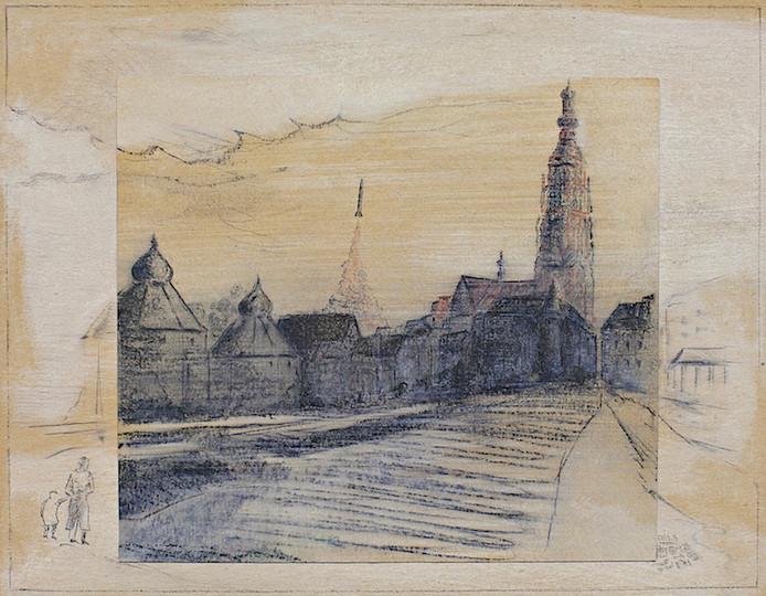 'Raketstart vanuit de Bredase binnenstad' , een tekening van Pieter Laurens Mol uit 1965, is de naamgever van de nieuwe tentoonstelling in Stedelijk Museum Breda.