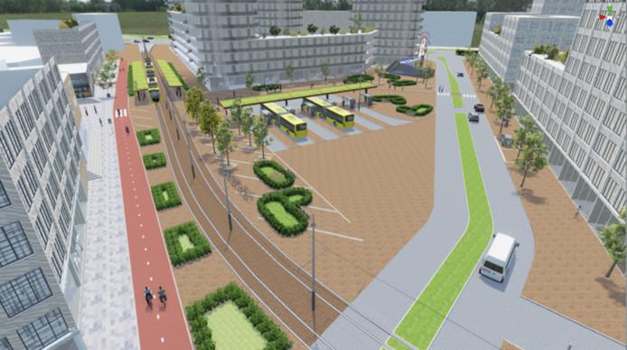 Impressie van het moderne ov-knooppunt voor bus en tram in Nieuwegein.