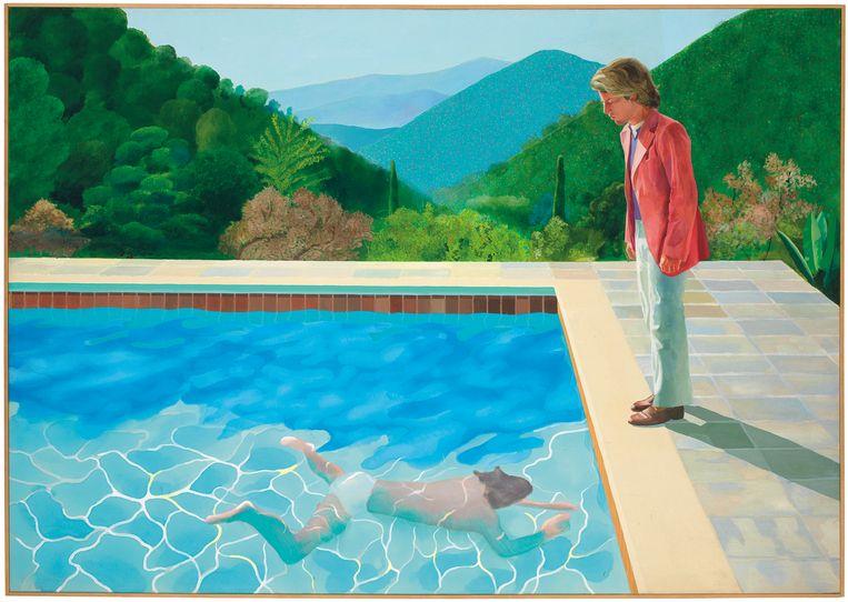 De veiling van het schilderij 'Portrait of an Artist' van David Hockney leverde ruim 90 miljoen dollar op.