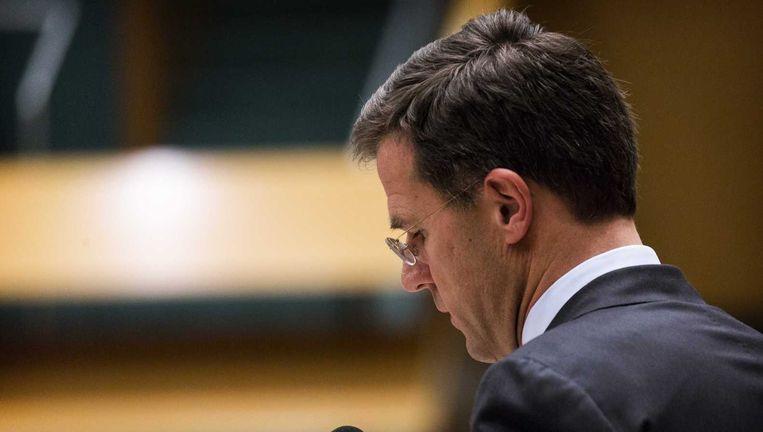 Premier Rutte gisteren tijdens het debat over de Teevendeal. Beeld anp