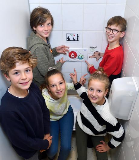 Grote of kleine boodschap? Deze scholieren bedachten een waterbesparende wc-sticker