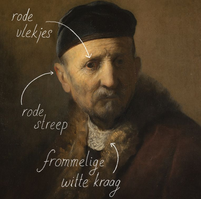 Tronie van een oude man (de vader) Beeld Schilderij van Rembrandt, bewerking Suzan Hijink
